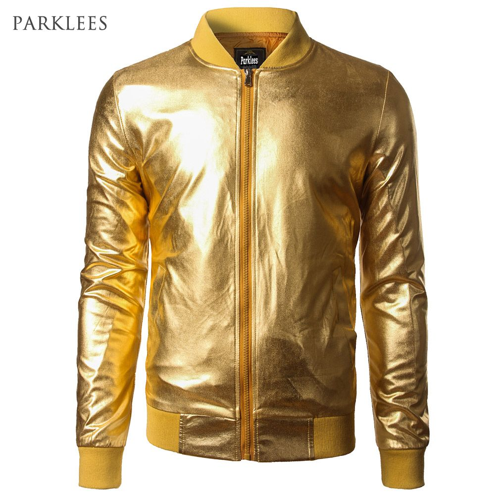 New Trend Metallic Gold Bomber Jacket Men/Women Veste Homme 2016 Night Club Fashion Slim Fit Zipper Baseball Varsity Jacket