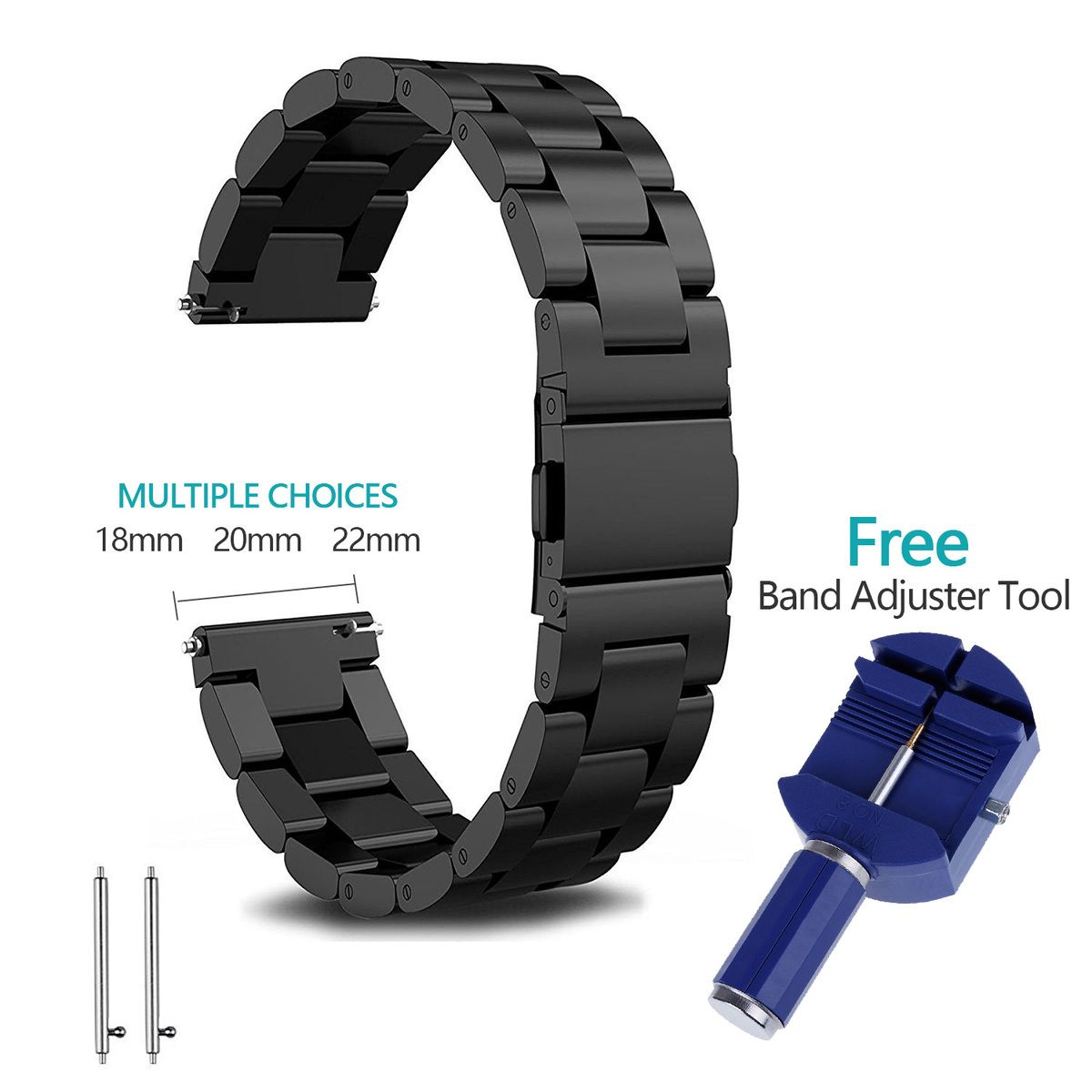 18mm 20mm 22mm Stainless Steel Watch Band Strap For Samsung Gear S2 S3 smart Watch Link bracelet black For Gear S2 Replacement