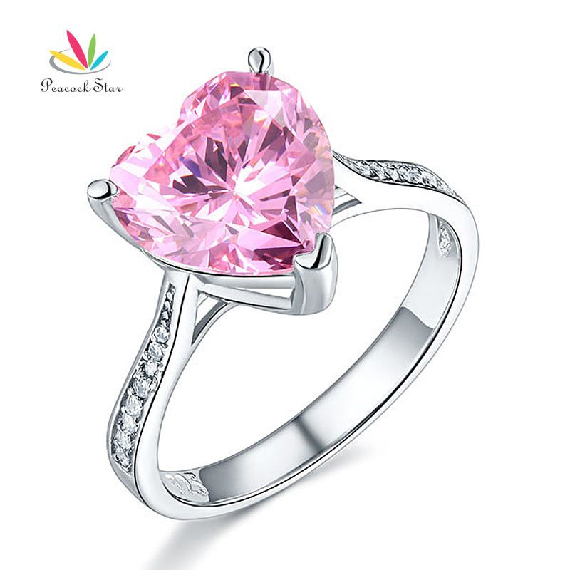 Peacock Star 3.5 Ct Heart Fancy Pink Wedding Promise Engagement Ring Solid 925 Sterling Silver Jewelry CFR8216