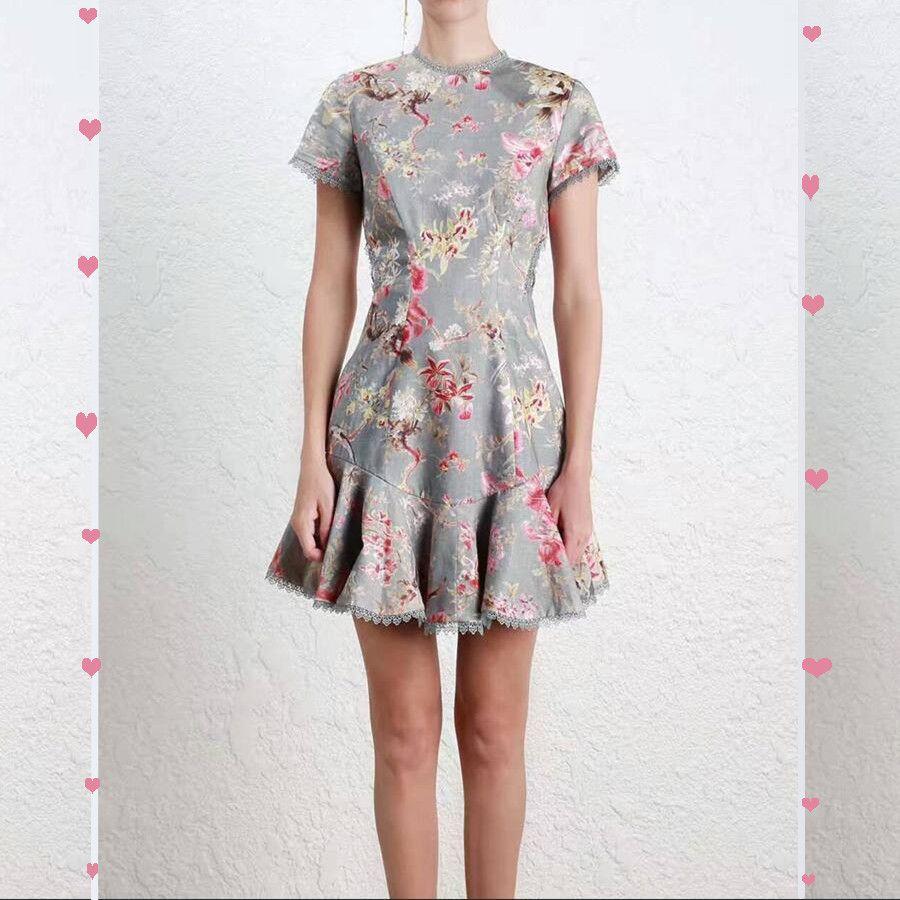 Women Short Sleeves Lattice Dress Lace-up Linen And Cotton Blend Mini Dress Bird Floral Print Mercer Mini dress