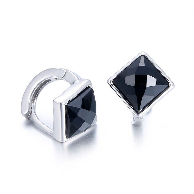 100% 925 de plata de la moda negro mujeres cristalinas 'aretes de joyería de regalo de cumpleaños femenino al por mayor barato