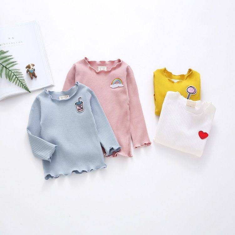 FREE Shipping Four Color Style Wave Desgin  95% Cotton Vert Soft Long Sleeve Girls T-Shirts Children Clothing Girls Sweatshirt