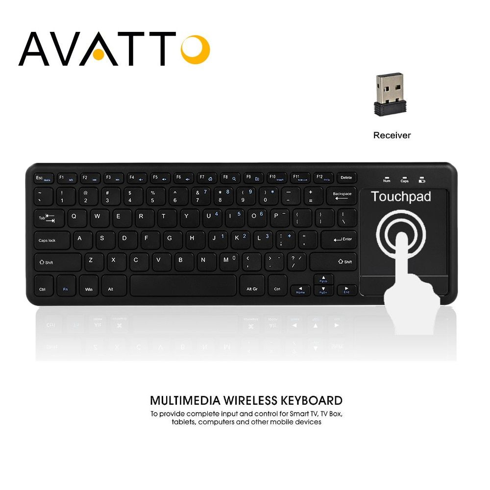 [AVATTO] Whisper Quiet 2.4GHz Wireless Multimedia Office Keyboard with Touchpad Mouse Combo for Windows PC,Smart TV,Android Box