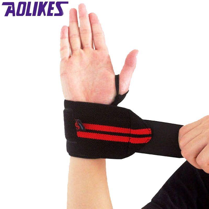 AOLIKES 1 Paire Haltérophilie Bracelet Sport Professionnel Formation Bandes de Main Support de Poignet Sangles Wraps Gardes Pour Gym Fitness