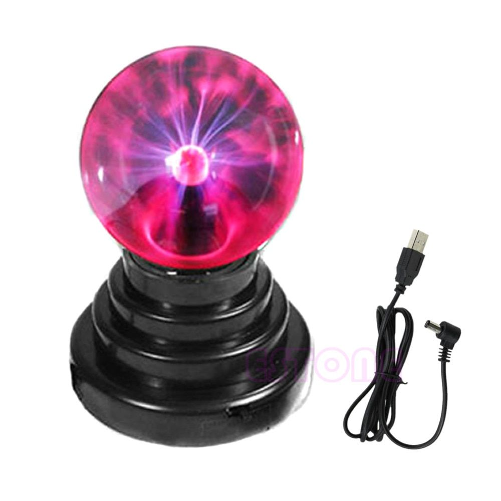 Hot Selling 14.5X9.8cm USB Magic Black Base Glass Plasma Ball Sphere Lightning Party Lamp Light With USB Cable #D8822#