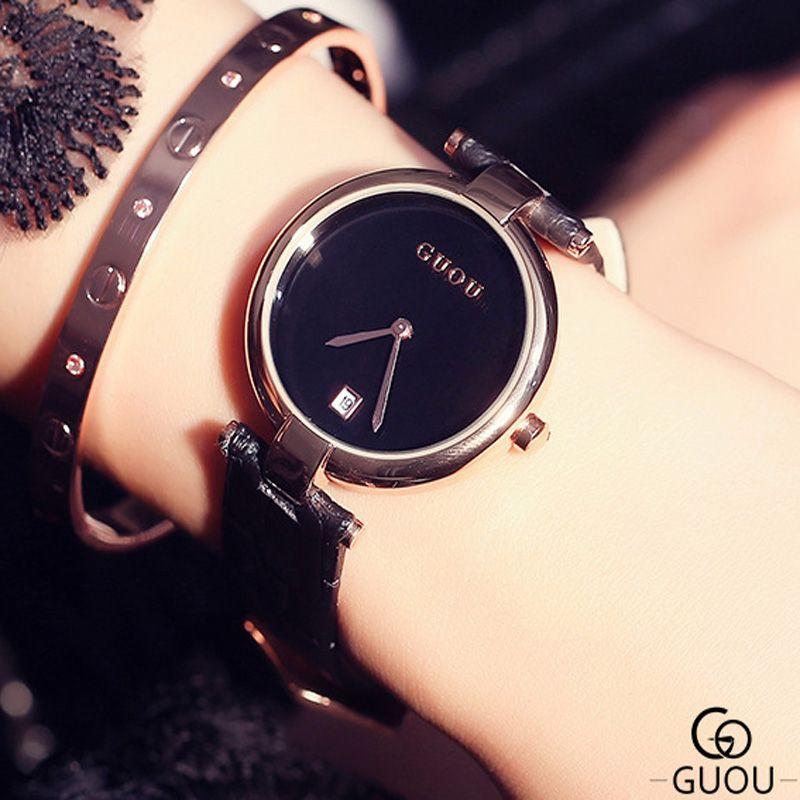 GUOU модные женские часы Простой Календари Женские часы Водонепроницаемый кожа часы Для женщин Relogio feminino Reloj Mujer Saat
