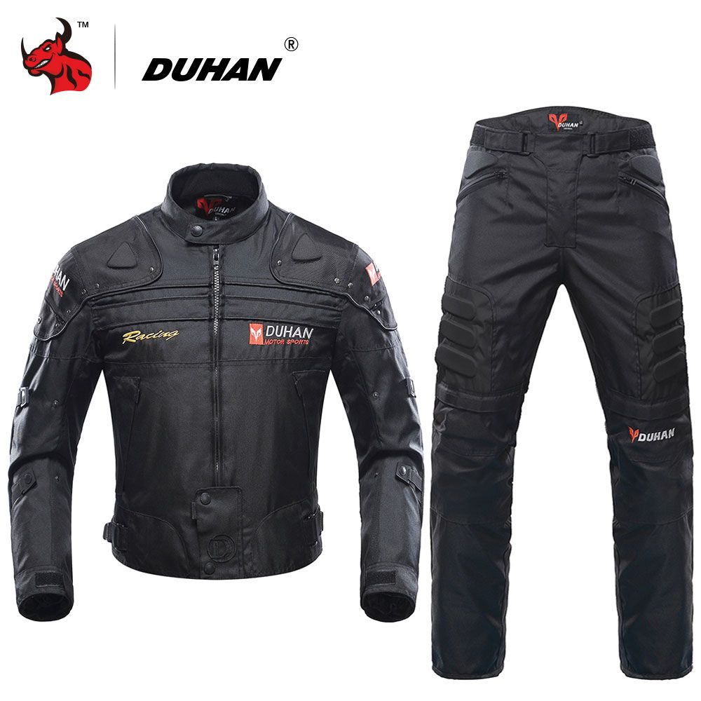 DUHAN Blouson Moto Men's Motorcycle Motocross Off-Road Racing Jacket Body Armor+ Riding Pants Clothing Set Black Blue Red