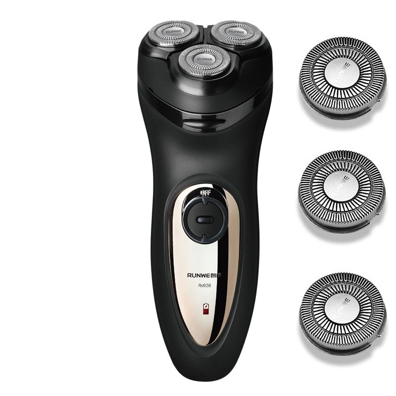 Runwe 3D Floating Head Rechargeable Electric Shaver for Menwith 3 Blade Electric Razor Barbeador Rasoir Electrique RS926