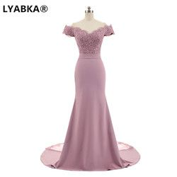 LYABKA Robe De Soiree Mermaid Burgundry Long Evening Dress Party Elegant Vestido De Festa Long Prom Gown 2019 With Belt