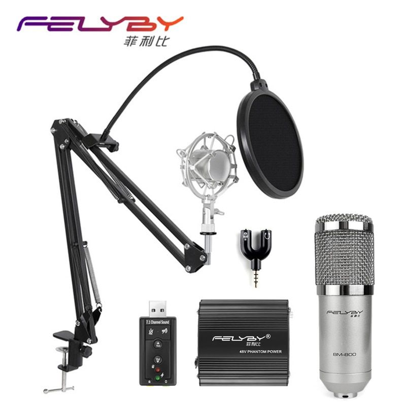 FELYBY professional bm 800 condenser microphone for computer audio karaoke mikrofon studio recording 3.5mm microphones sets