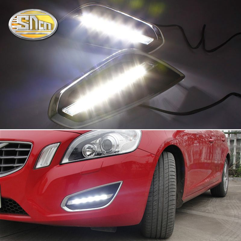 For Volvo S60 V60 2011 2012 2013,Light-Off Style Relay Waterproof Matte ABS Car DRL 12V LED Daytime Running Light Daylight SNCN
