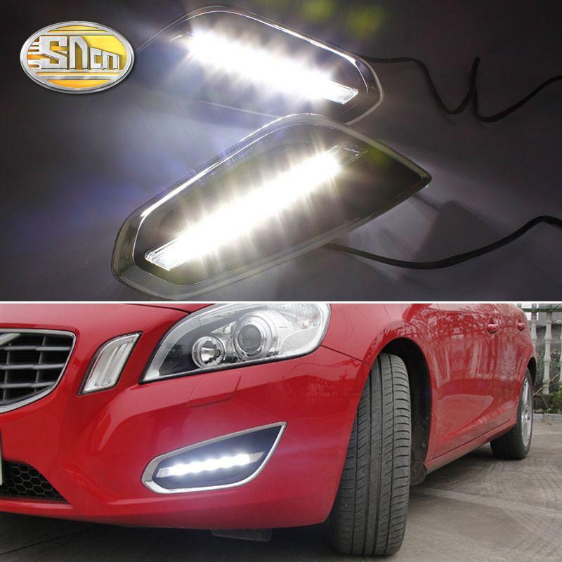 For Volvo S60 V60 2011 2012 2013,Light-Off Style Relay Waterproof Matte ABS Car DRL 12V LED Daytime Running Light Daylight SNCN