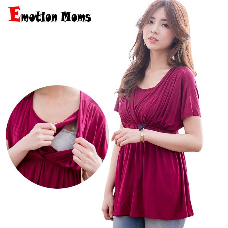 Émotion mamans solide vêtements de maternité haut de maternité allaitement hauts vêtements de grossesse pour les femmes enceintes T-shirt de maternité