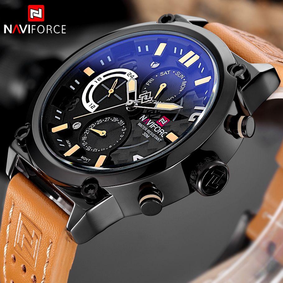 NAVIFORCE Luxury Brand Leather Analog Quartz Watches Men Functional Date Fashion Casual Wristwatches Clock Man Relogio Masculino