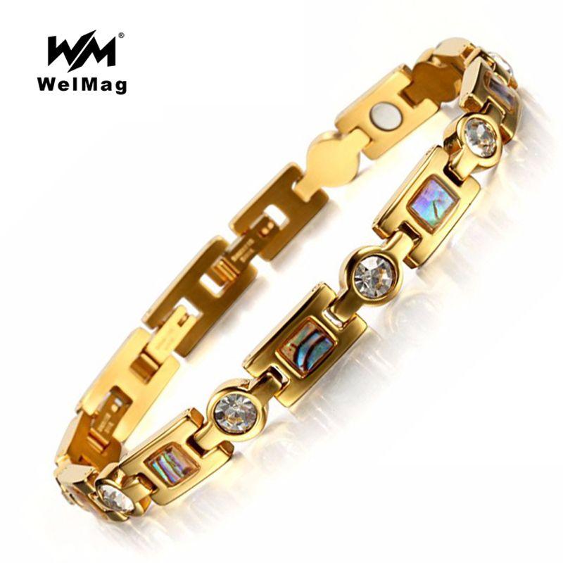 Welmag магнитный браслет Для женщин терапии энергии Браслеты Кристалл Нержавеющаясталь браслет Femme модные Для женщин ювелирные изделия