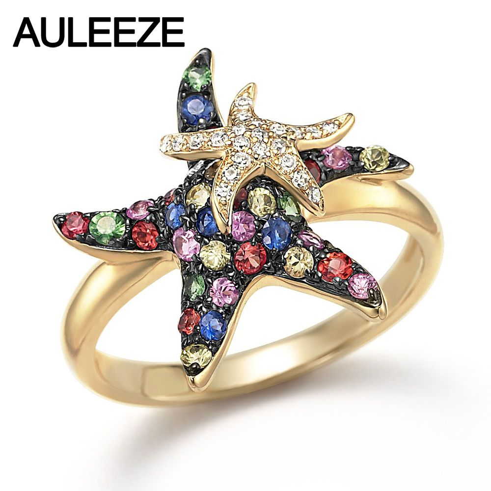 Natürliche Multi Saphir Real Diamond Starfish Schöne Ringe in 9 Karat Gelbgold Ringe Für Dame Edelstein Edlen Schmuck Weihnachten geschenke