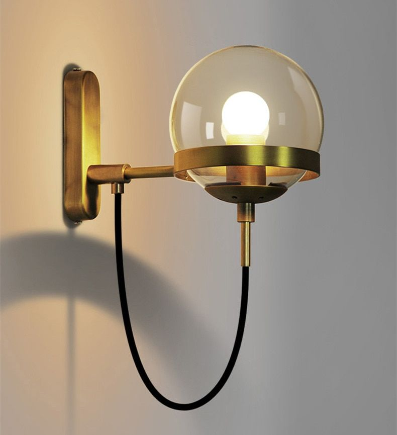 2018 Sale Limited Simple Post Modern Vintage Home LED Wall Lights American Loft Restaurant Cafe Glass Ball Lamp Free Shipping