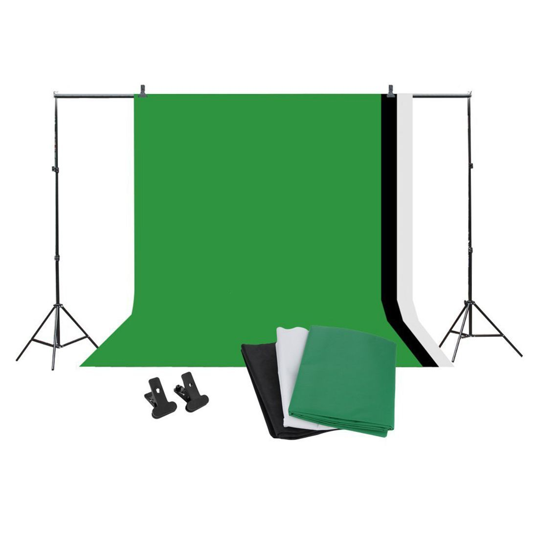 Professional Studio Background Stand Kit - 10x6.5ft Photo Backdrop Support Stand Kit + Backdrop Screen (Black,Green,White)