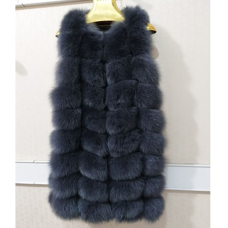 Women Winter Real Fox Fur Sleeveless Vest Fashion Ladies Warm Slim Solid Color Striped Real Fur Coat Fox Waistcoat Fur For Women