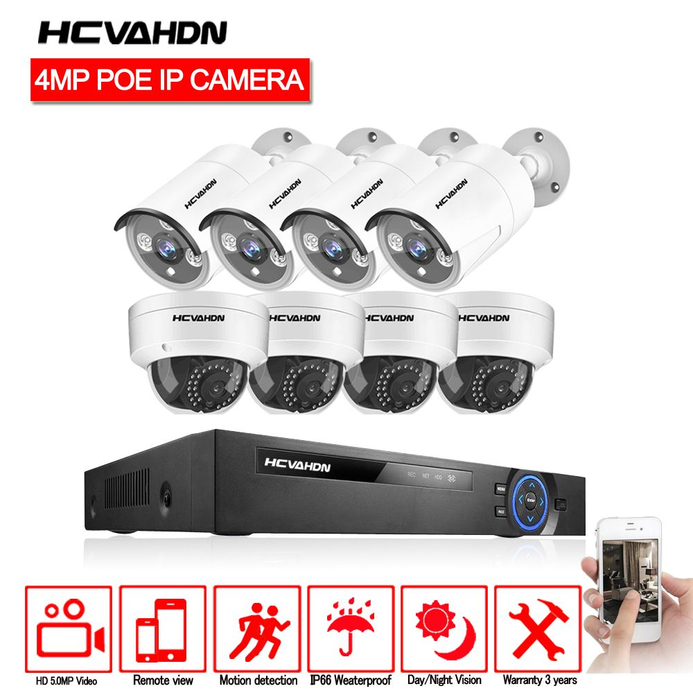 HCVAHDN 8CH 5MP POE NVR Xmeye CCTV System 4.0MP Indoor Outdoor PoE IP Kamera IR Nacht Vision Video Sicherheit Überwachung kits