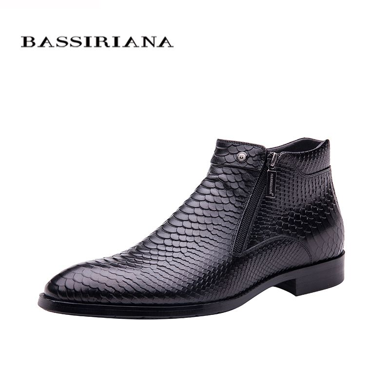 BASSIRIANA new fashion men shoes ankle boots Brown black Full grain leather round toe Big siz 39-45 Free shipping