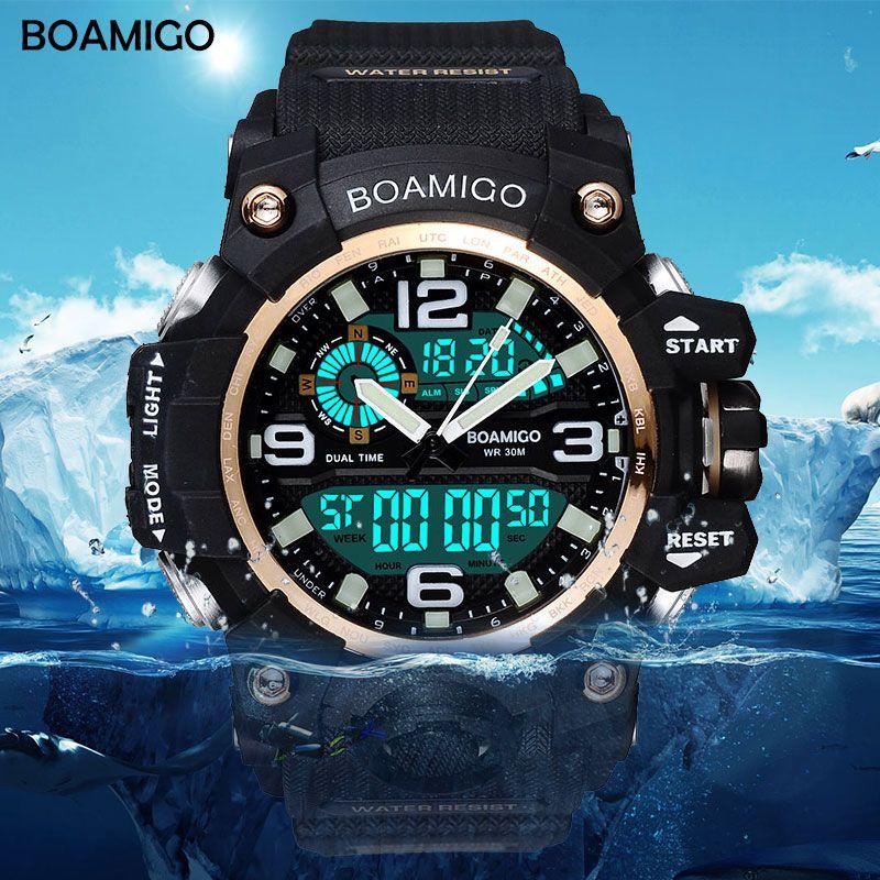 BOAMIGO marque hommes sport montres LED numérique analogique montre-bracelet nager étanche jaune caoutchouc cadeau horloge Relogios Masculino