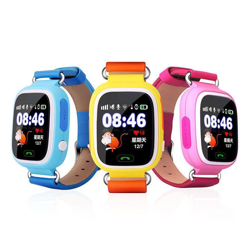 Бесплатная доставка розовый голубой желтый Q90 SmartWatch ребенок наручные часы GPS трекер анти-потерянный для IOS Android