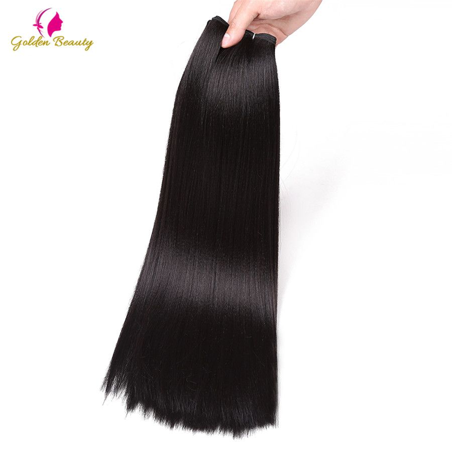 Golden Beauty 18inch Hair Weaves bundle Synthetic Perm Yaki Straight Long Weft Sew in Hair Extensions 100g/pack