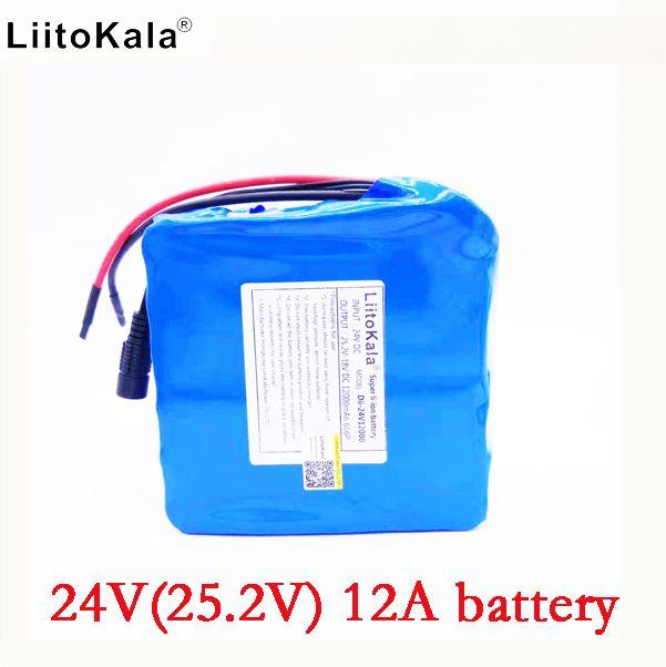 LiitoKala 24v 12ah li-lon battery 25.2v 12ah BMS 250w 24v 350w battery pack for wheelchair motor kit electric power no charger