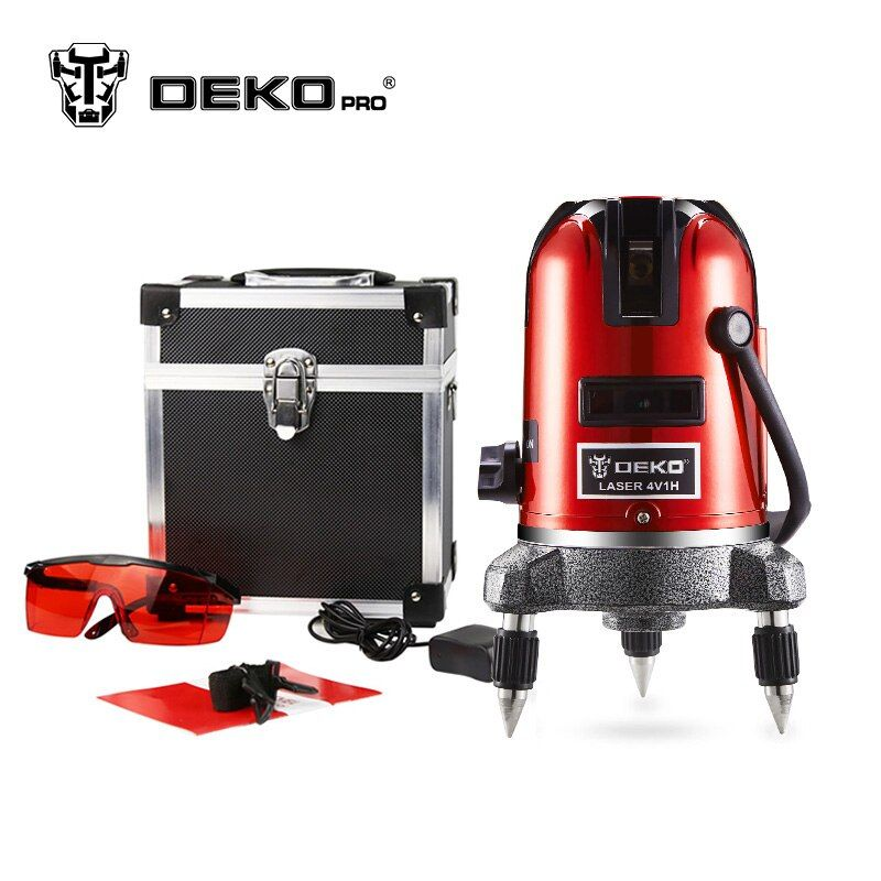 DEKOPRO 5 Lines 6 Points Laser Level 360 Vertical & Horizontal Rotary Cross Laser Line Leveling Can Be Used w/ Outdoor Mode