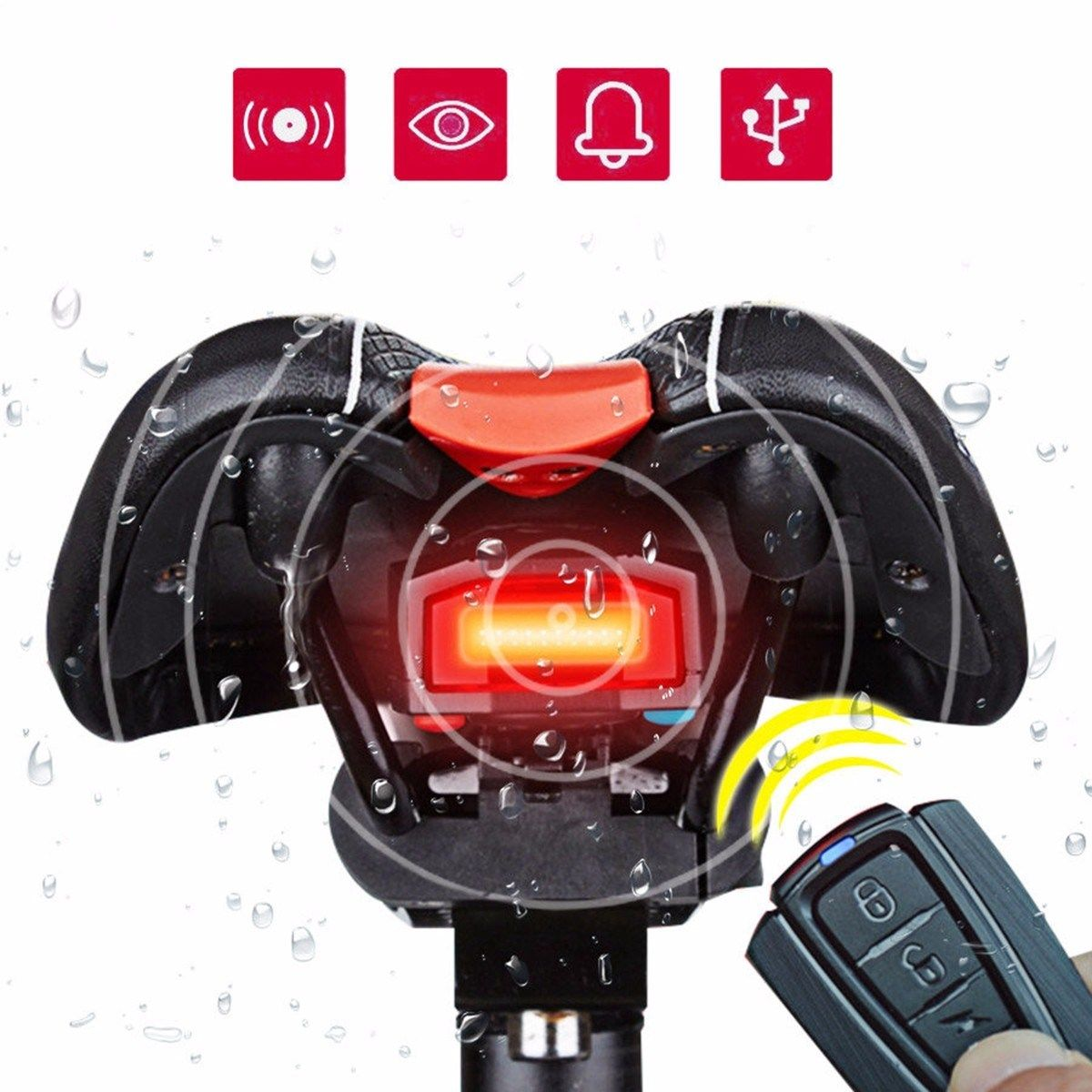 New 3 in 1 Bicycle Wireless Smart Bell COB Tailight Bike Remote Control Alarm Lock Fixed Position USB Charging Bike Rear Light