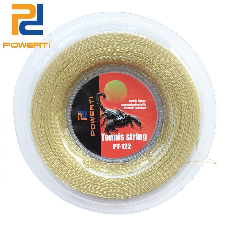 Powerti 1.30mm nylon Alambres suave Tenis raqueta 200 m carrete durable Tenis raqueta cuerdas entrenamiento de oro cadena 4 colores