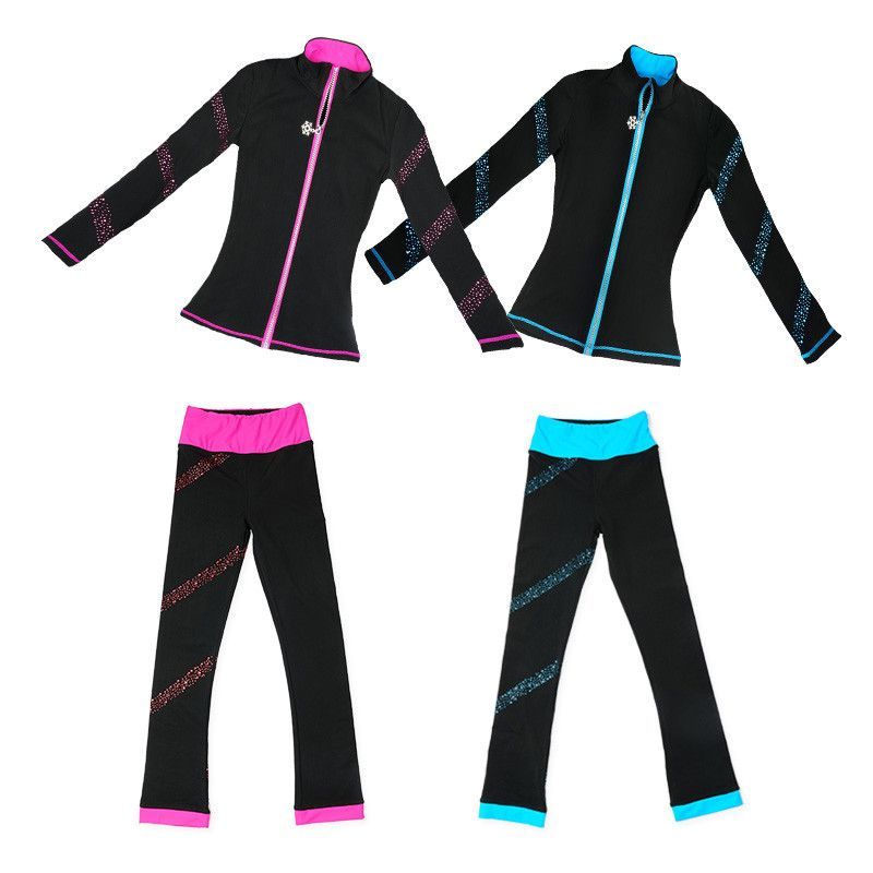 Figure Skating Suits Jacket and Pants Long Trousers for Girl Women Training Patinaje Ice Skating Blue Pink Shiny Rhinestones
