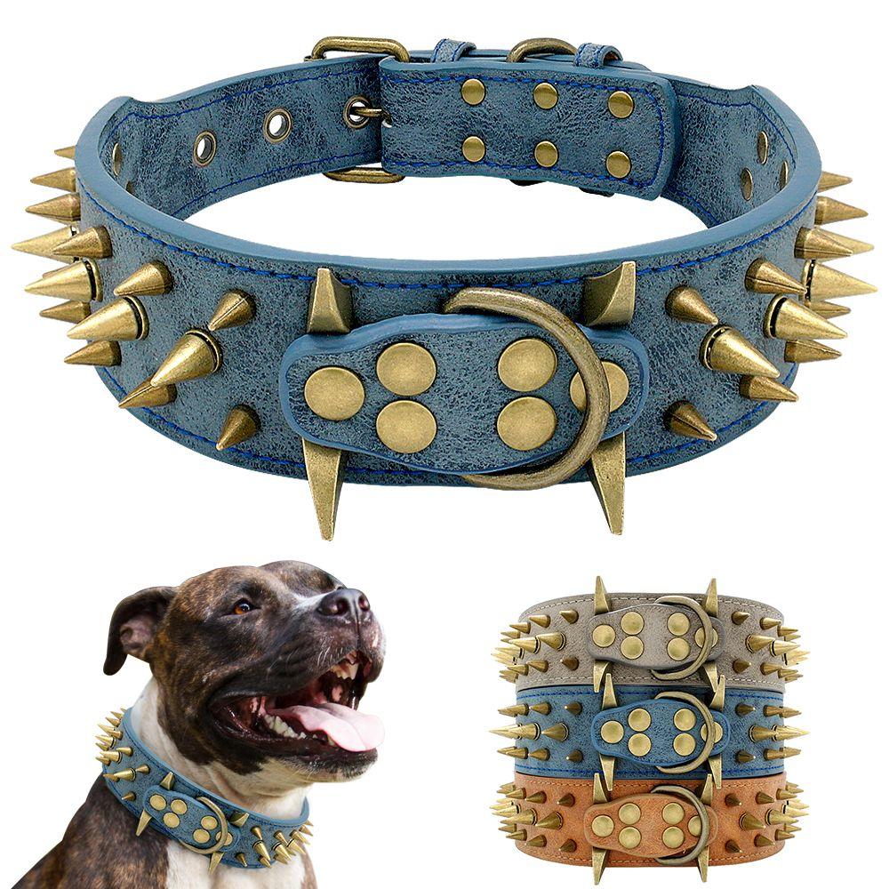 Collier de chien Cool en cuir clouté clouté colliers de chien Pitbull Bulldog collier Perro pour les chiens de taille moyenne Boxer berger allemand