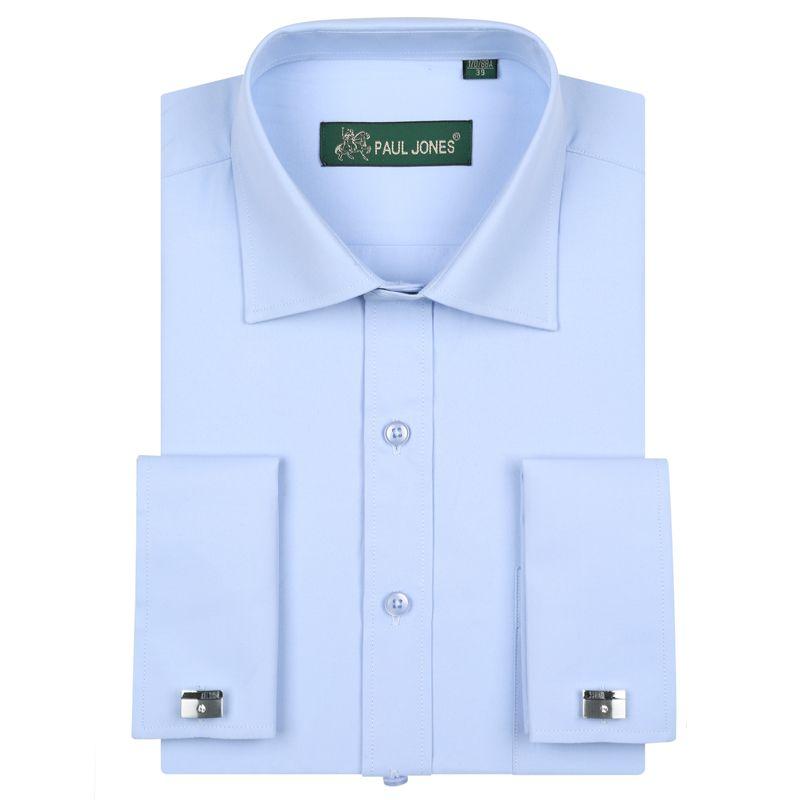 Chemises habillées de luxe à poignets français pour hommes avec poche poitrine chemise de smoking à manches longues à manches longues (boutons de manchette inclus)