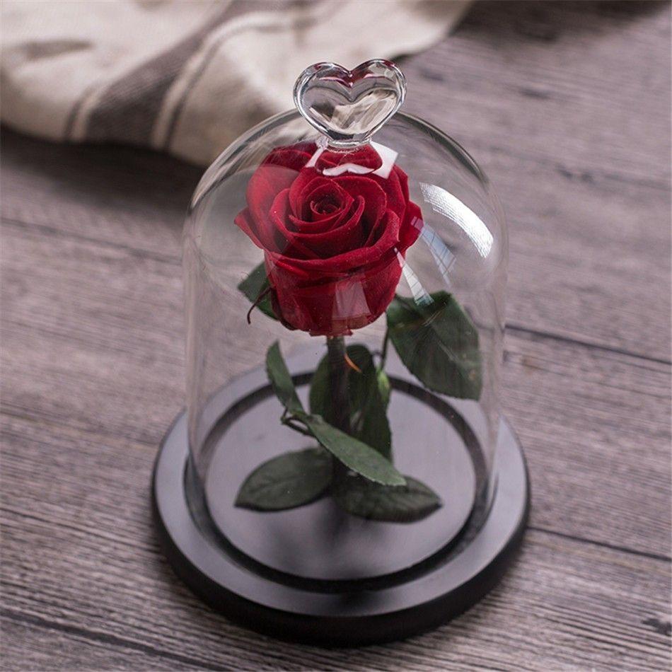 Fleur Rose éternelle avec verre d'amour étui noir fleur artificielle cadeau pour nouvel an saint valentin noël Gif bonne décoration de la maison