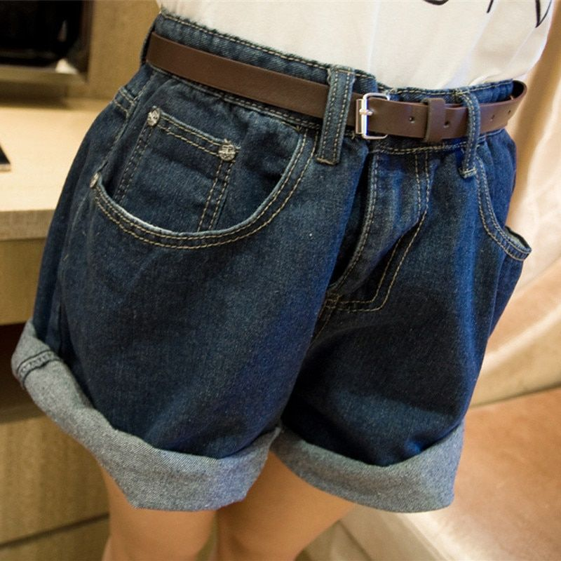 Women Fashion Solid Denim Shorts Summer High Waist Loose Shorts Wide Leg Crimping Jeans Short with out belt SL063