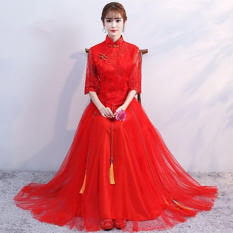 Chino Tradicional Bordado Ropa Cheongsam Cheongsam Vestido de Novia de Encaje Delgado Vestidos de Novia Qipao Boda Oriental