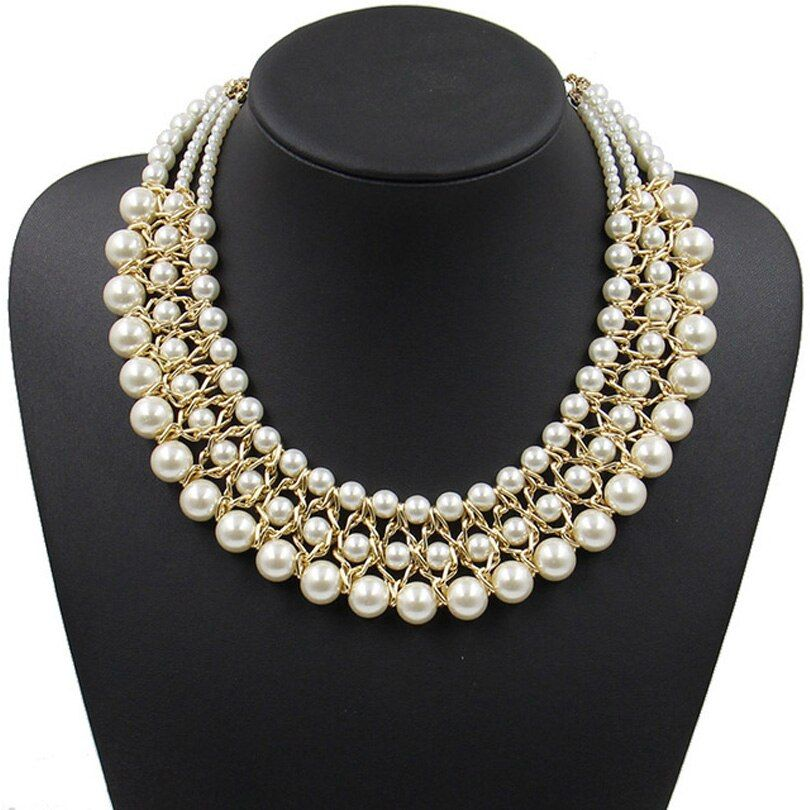 Déclaration collier mode pour femmes 2018 collier perle marque chunky femme chaîne bavoir perle colliers et pendentifs vintage bijoux