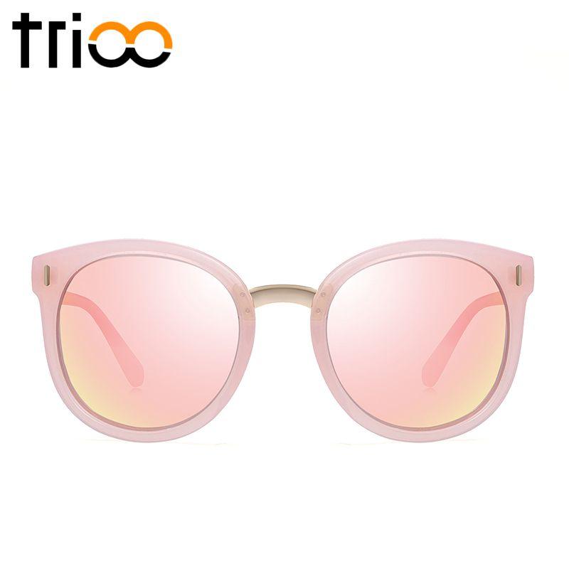 TRIOO Polarisées Rose Femmes lunettes de Soleil Miroir Rond Shades Été Couleur Lentille Femmes Oculos Marque Designer Rétro Dames Lunettes de Soleil