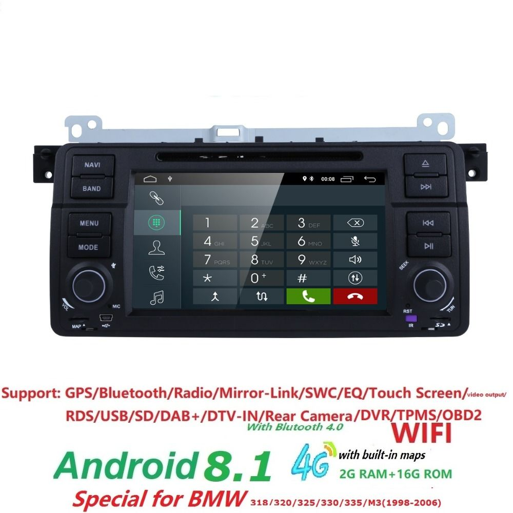 Android 8.1 Quad core HD 1024*600 screen 2 DIN Car DVD GPS Radio stereo For BMW E46 M3 wifi 4G GPS USB SWC AUDIO DVB-T BLUETOOTH