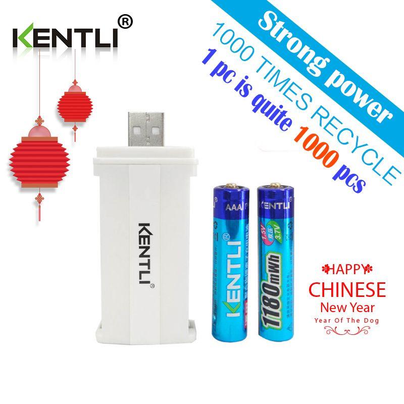 KENTLI 2 stücke kein memory-effekt 1,5 v 1180mWh AAA lithium li-ion wiederaufladbare batterien batterie + 2 kanäle lithium-ladegerät