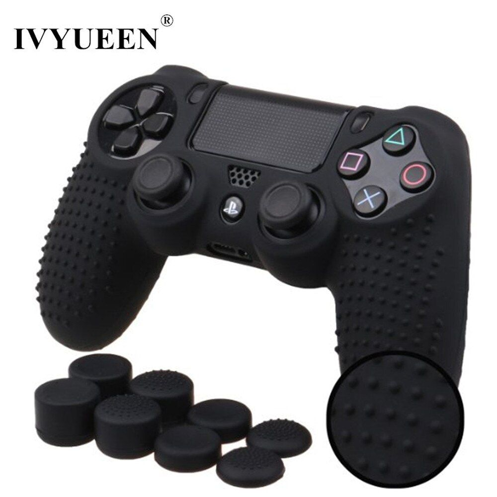 IVYUEEN 9 in 1 for Dualshock 4 PS4 Slim Pro Controller Studded Skin Premium Protective Anti-slip Soft Silicone Grip Case Cover