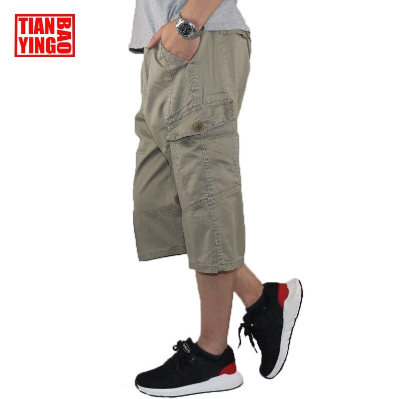 Summer Mens Capris Pants Baggy Casual Cargo Pants Hip Hop Army Military Men Cotton Loose Work Fashion Calf Length Trousers