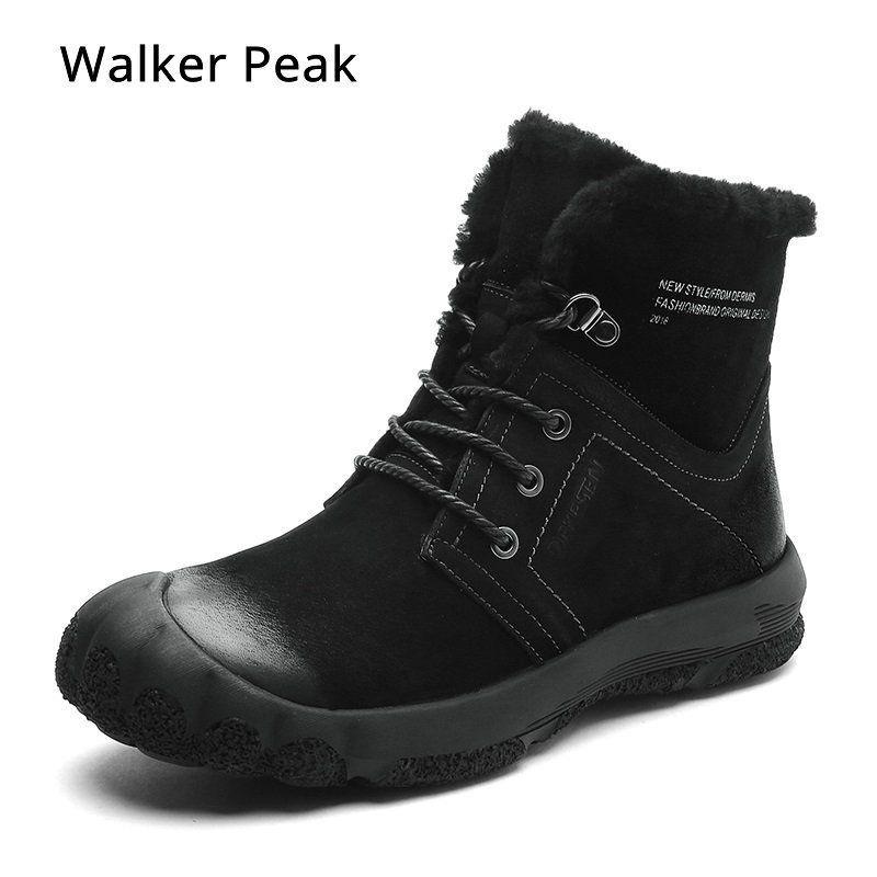100% echtem Leder Winter Stiefel herren wasserdichte Stiefel Schnee Im Freien Warme Winter Schuhe für Männer Anti-kalt Stiefeletten walker Spitzen