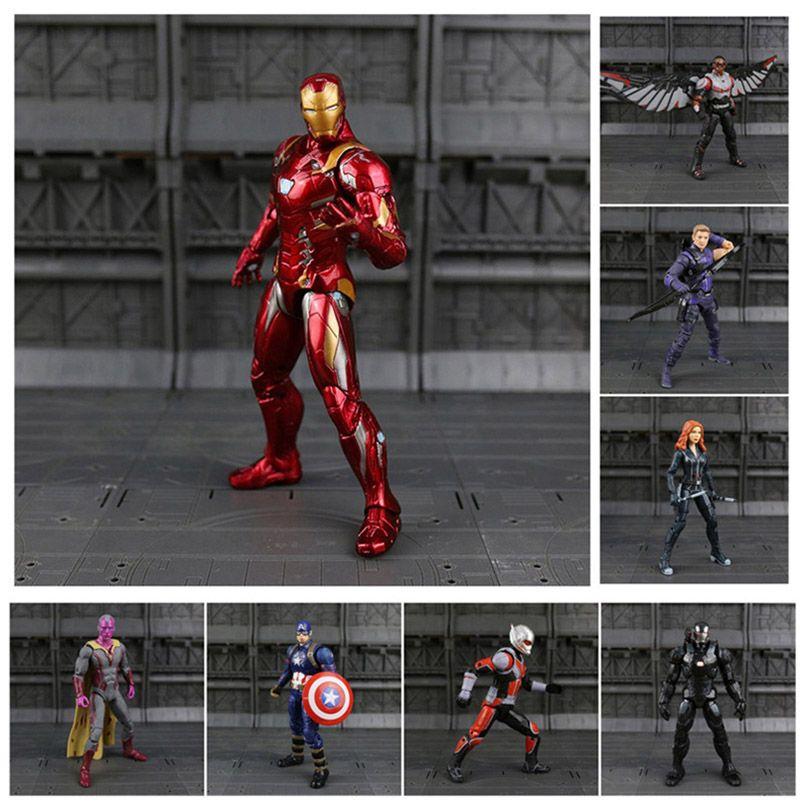 Iron Man Captain America Black Panther hiver soldat fourmi-homme faucon écarlate sorcière Vision Hawkeye figurine modèle jouets N033