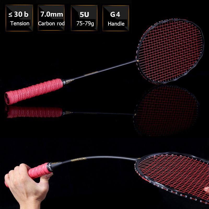 LOKI 75g Kurvenform Badminton Schläger Offensive Carbon Badmintonschläger 5U 22-30LBS mit String Tasche