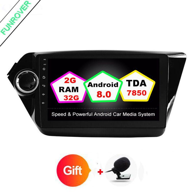 FUNROVER 2din Quad core Android 8.0 gps car radio tape recorder for Kia k2 rio 2010 2016 in dash video player wifi usb fm no dvd