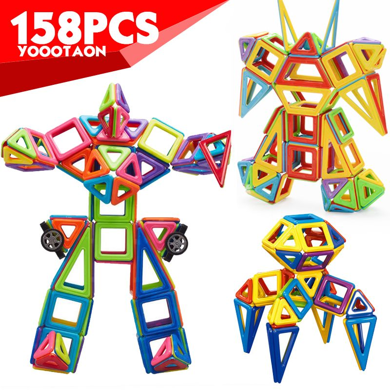 Mini 158pcs/lot Magnetic Models Building Blocks Construction Toys DIY 3D Magnetic Designer Learning Educational Bricks Kids Toys