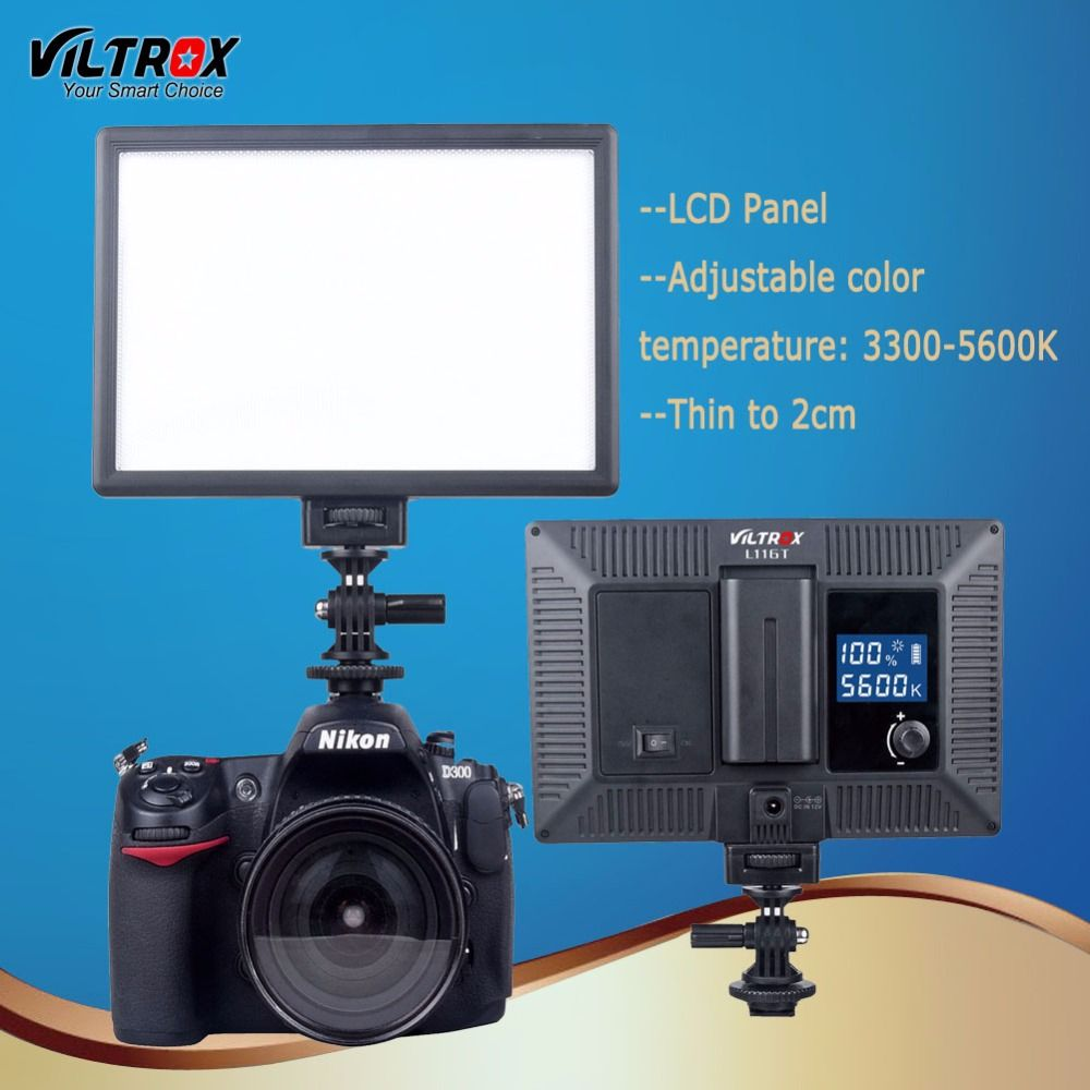 Viltrox L116T LED Ultra thin Studio Video Light Lamp Bi-Color & Dimmable LCD Panel Display for DSRL Camera Tripod Bracket